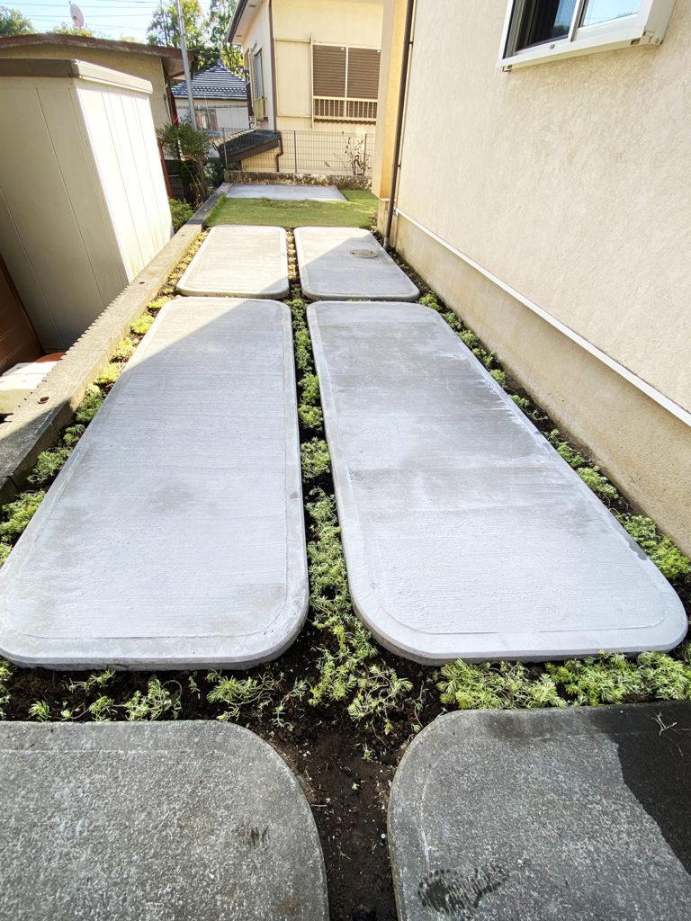 2020年9月 神奈川県相模原市 H様邸 二期工事 駐車場拡張土間 + 物置土間 + 物置設置