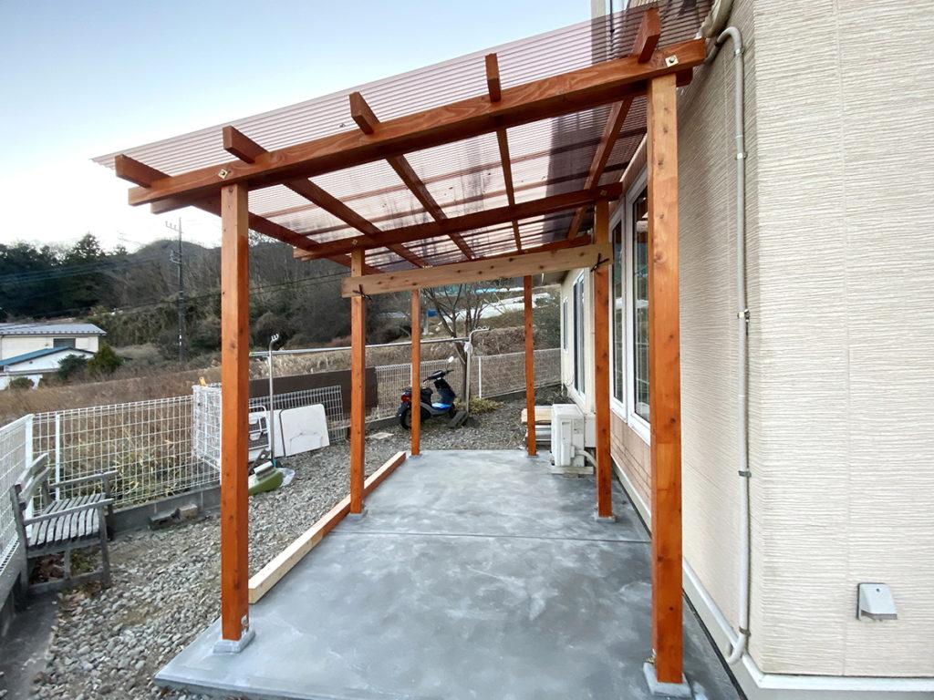 2020年12月 神奈川県相模原市緑区 T様邸 バイクポート新設 設計 + 施工 施工完了