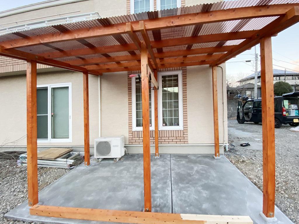 2020年12月 神奈川県相模原市緑区 T様邸 バイクポート新設 設計 + 施工 施工中
